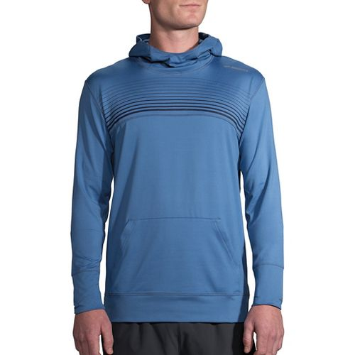 Mens Brooks Dash Half-Zips & Hoodies Technical Tops - Bay/Navy Stripe S