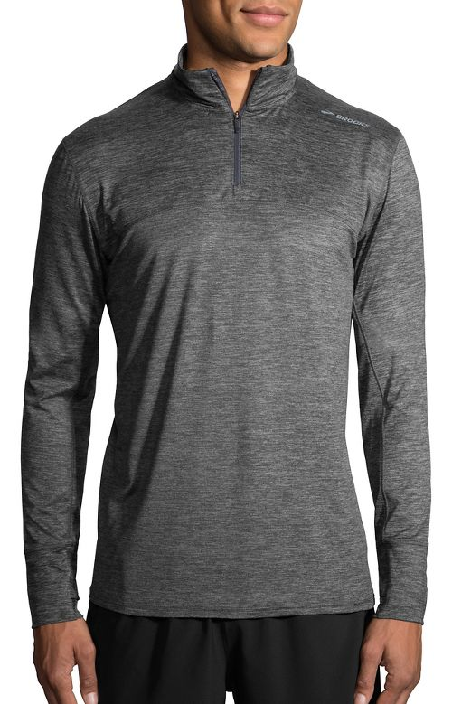 Mens Brooks Dash Half-Zips & Hoodies Technical Tops - Heather Asphalt XL