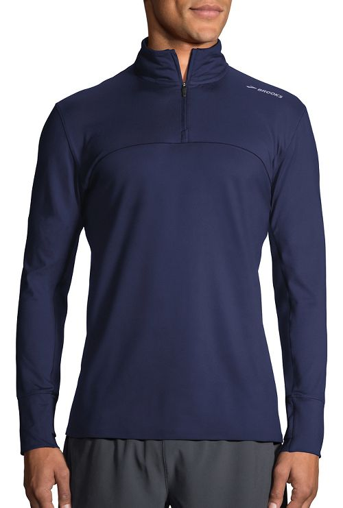 Mens Brooks Dash Half-Zips & Hoodies Technical Tops - Navy L