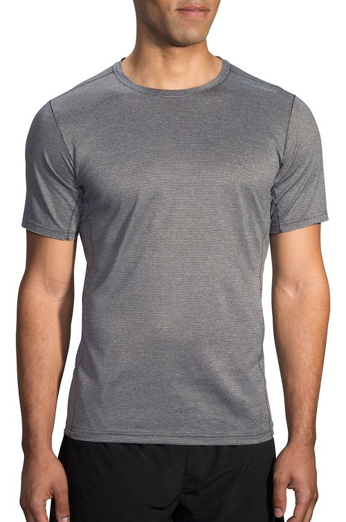 Mens Brooks Ghost Short Sleeve Technical Tops - Heather Asphalt XS