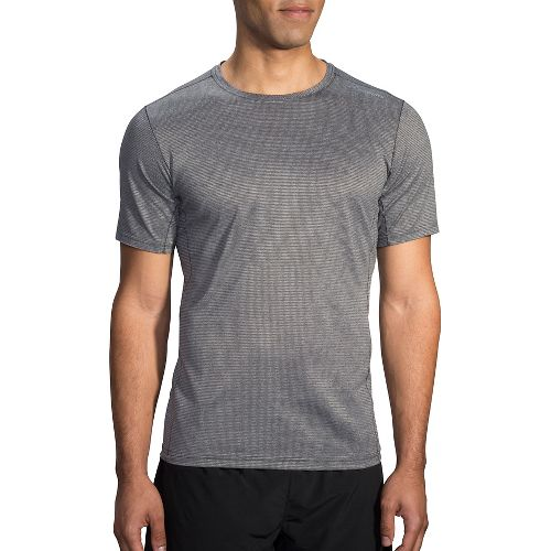 Mens Brooks Ghost Short Sleeve Technical Tops - Heather Asphalt L