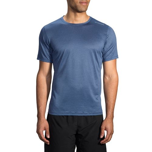 Mens Brooks Ghost Short Sleeve Technical Tops - Heather Ink XS