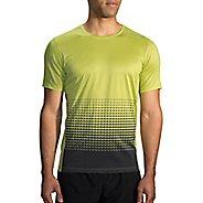 Mens Brooks Ghost Printed Short Sleeve Technical Tops - Grove/Asphalt Verge XS