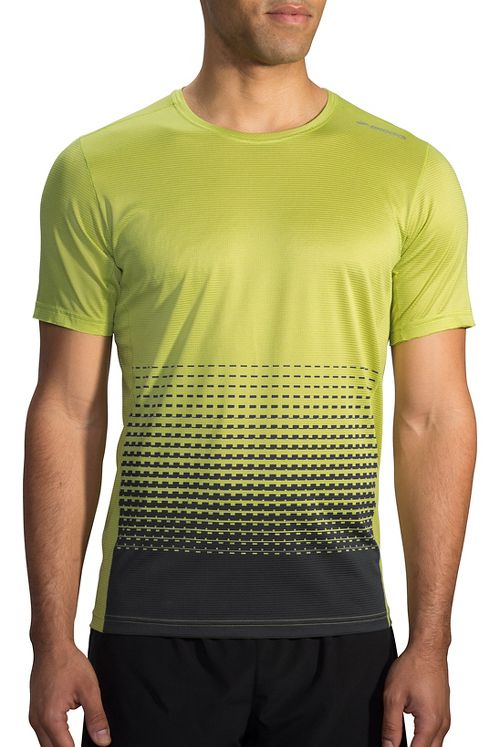 Mens Brooks Ghost Printed Short Sleeve Technical Tops - Grove/Asphalt Verge XXL
