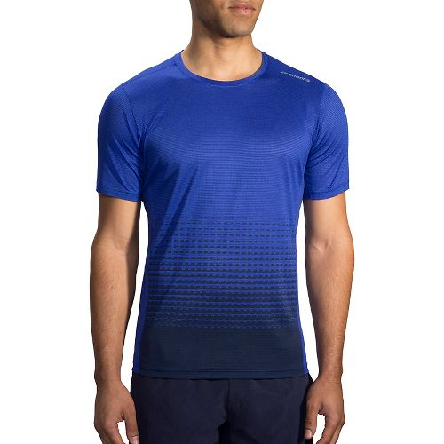 Mens Brooks Ghost Printed Short Sleeve Technical Tops - Cobalt/Asphalt Verge S