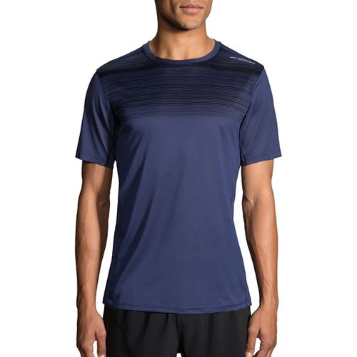 Mens Brooks Ghost Printed Short Sleeve Technical Tops - Navy/Black Stripe XL