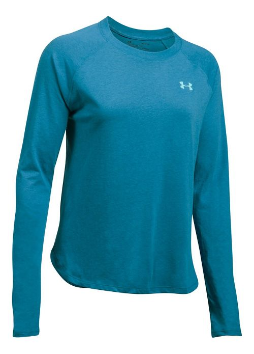Womens Under Armour Tri-Blend Long Sleeve Technical Tops - Bayou Blue XL