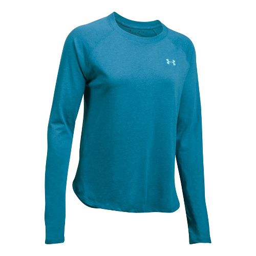 Womens Under Armour Tri-Blend Long Sleeve Technical Tops - Bayou Blue L