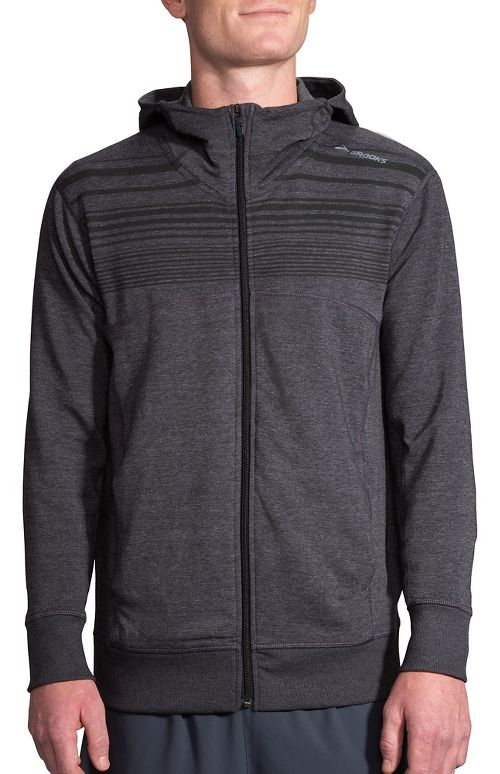 Mens Brooks Distance Half-Zips & Hoodies Technical Tops - Heather Black/Stripe S