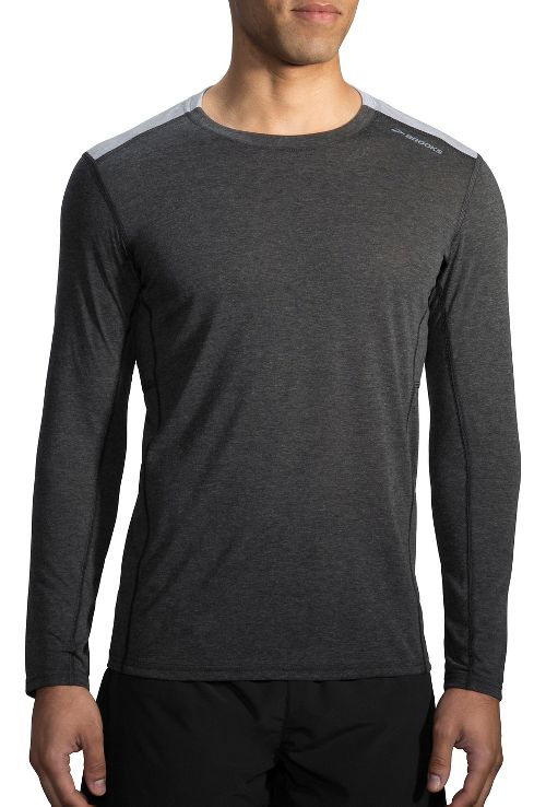 Mens Brooks Distance Long Sleeve Technical Tops - Heather Black/Heather Sterling XS