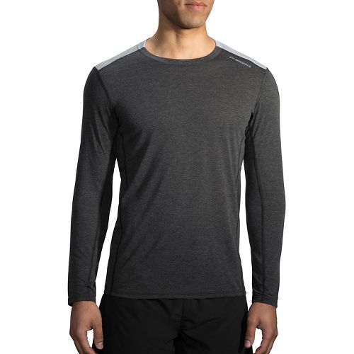 Mens Brooks Distance Long Sleeve Technical Tops - Heather Black/Heather Sterling XL