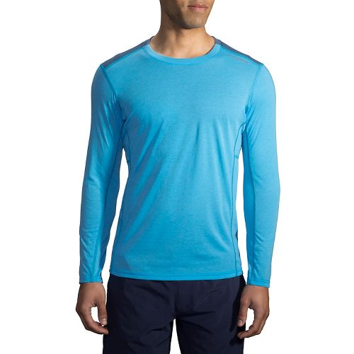 Mens Brooks Distance Long Sleeve Technical Tops - Heather Pool XS