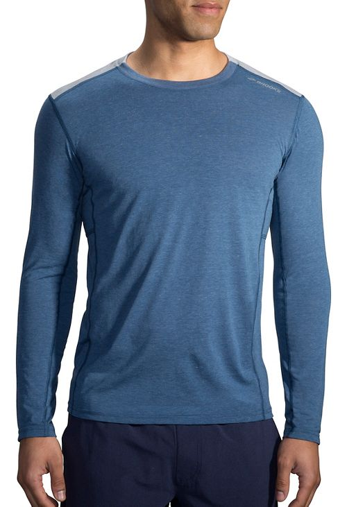 Mens Brooks Distance Long Sleeve Technical Tops - Heather Ink XXL