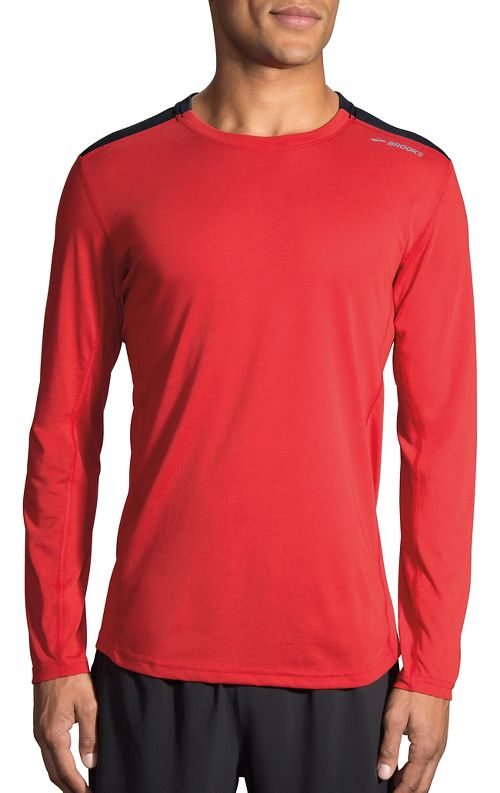 Mens Brooks Distance Long Sleeve Technical Tops - Robin/Heather Black XL