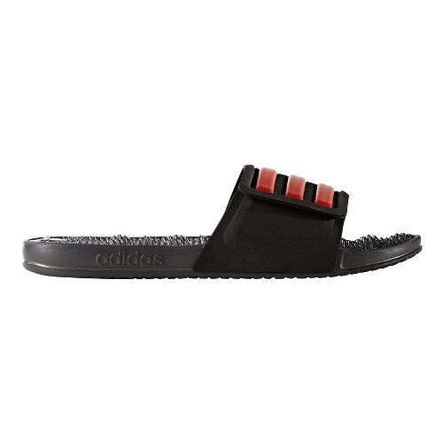 Mens adidas Adissage 2.0 Stripes Sandals Shoe - Black/Red 7