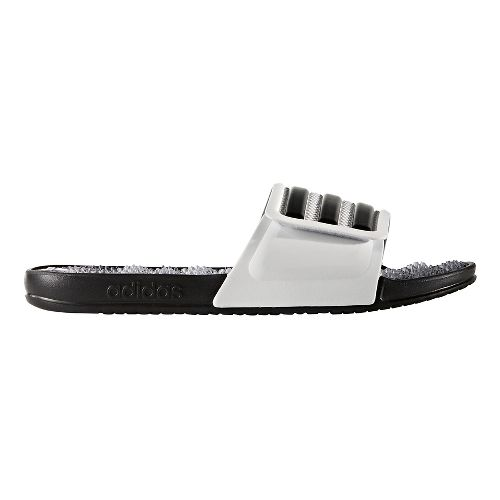 Mens adidas Adissage 2.0 Stripes Sandals Shoe - White/Black 5