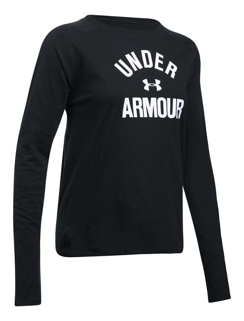 Womens Under Armour Tri-Blend Graphic Long Sleeve Technical Tops - Black/White L