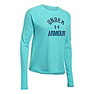 Womens Under Armour Tri-Blend Graphic Long Sleeve Technical Tops - Blue Infinity M