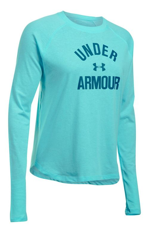 Womens Under Armour Tri-Blend Graphic Long Sleeve Technical Tops - Blue Infinity S