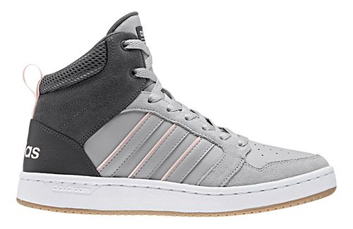 Womens adidas CloudFoam Super Hoops Mid Casual Shoe - Grey/Pink 8.5