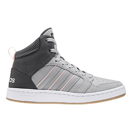 Womens adidas CloudFoam Super Hoops Mid Casual Shoe - Grey/Pink 9.5