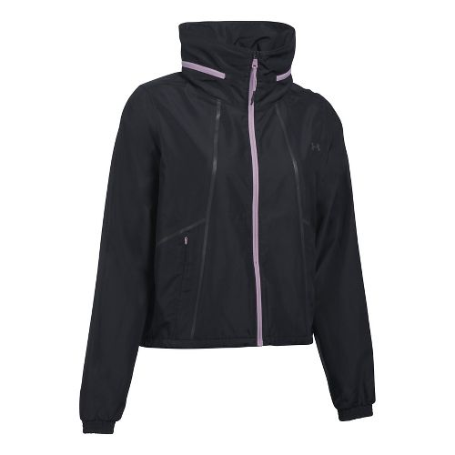 Womens Under Armour UA Accelerate Packable Running Jackets - Black/Orchid M