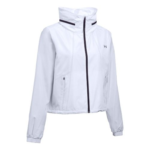 Womens Under Armour UA Accelerate Packable Running Jackets - White/Purple XS