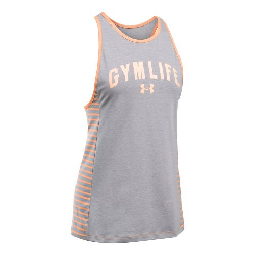 Womens Under Armour UA Gym Favorite Sleeveless & Tank Tops Technical Tops - Heather/Peach XS ...