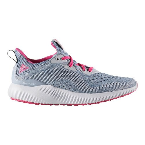 Kids adidas AlphaBounce EM J Running Shoe - Grey/Pink 4.5Y