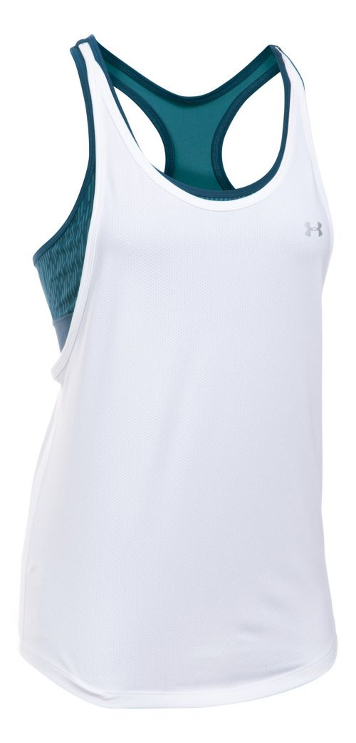 Womens Under Armour HeatGear Printed 2-in-1 Sleeveless & Tank Tops Technical Tops - White/Navy L