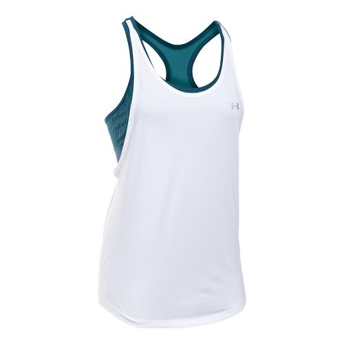 Womens Under Armour HeatGear Printed 2-in-1 Sleeveless & Tank Tops Technical Tops - White/Navy ...
