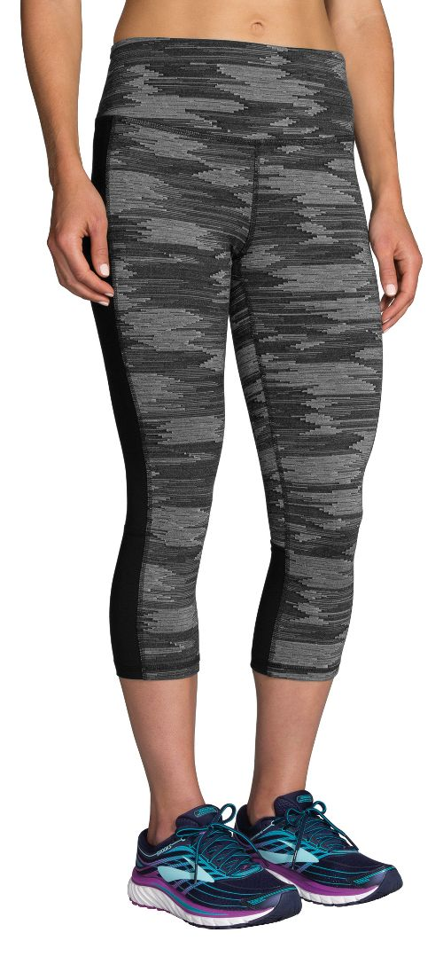 Womens Brooks Greenlight Printed Capri Pants - Black Ikat Jacquard L