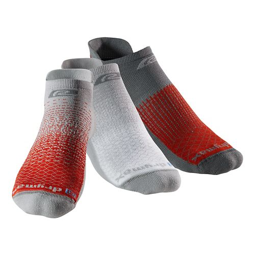 R-Gear Drymax Thin Cushion Pattern No Show 3 pack Socks - Grey/Orange digifade L