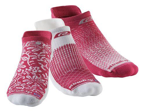 R-Gear Drymax Thin Cushion Pattern No Show 3 pack Socks - October Pink S
