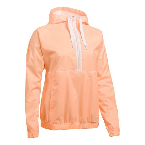 Womens Under Armour Woven Jacket Half-Zips & Hoodies Technical Tops - Playful Peach S