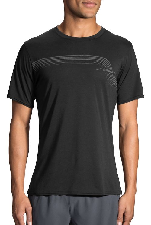 Mens Brooks Track T Short Sleeve Technical Tops - Black L