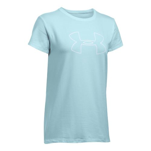 Womens Under Armour Big Logo Short Sleeve Technical Tops - Skylight L