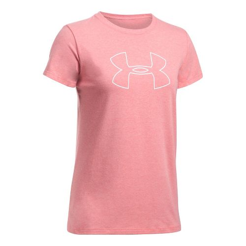 Womens Under Armour Big Logo Short Sleeve Technical Tops - Pomegranate Light M