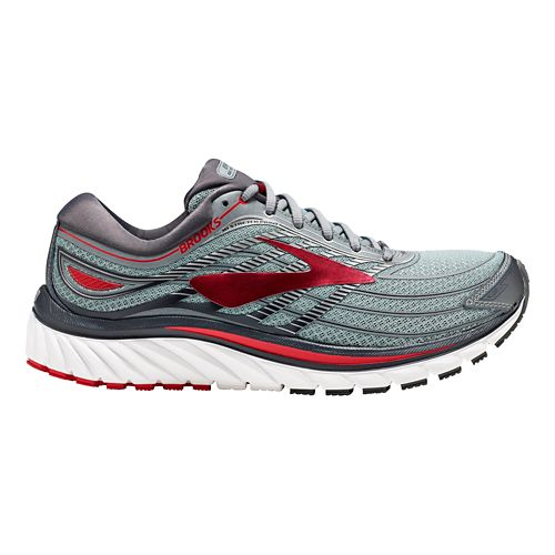 Mens Brooks Glycerin 15 Running Shoe - Grey/Red 10.5