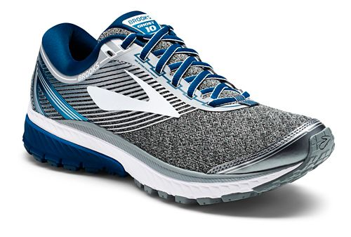 Mens Brooks Ghost 10 Running Shoe - Silver/Blue 8