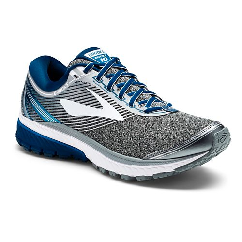 Mens Brooks Ghost 10 Running Shoe - Silver/Blue 9.5