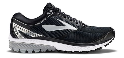 Mens Brooks Ghost 10 Running Shoe - Black/Silver 10.5