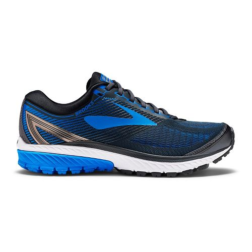 Mens Brooks Ghost 10 Running Shoe - Black/Blue 10.5