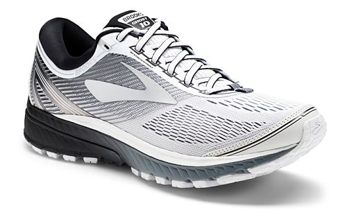 Mens Brooks Ghost 10 Running Shoe - White/Black 14
