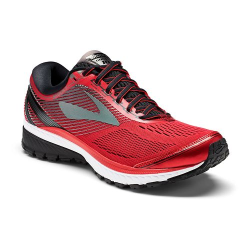 Mens Brooks Ghost 10 Running Shoe - Red/Black 8.5
