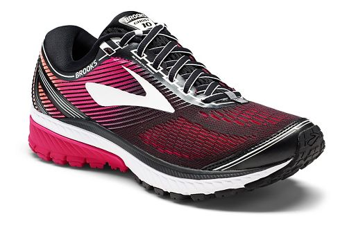 Womens Brooks Ghost 10 Running Shoe - Black/Pink 7