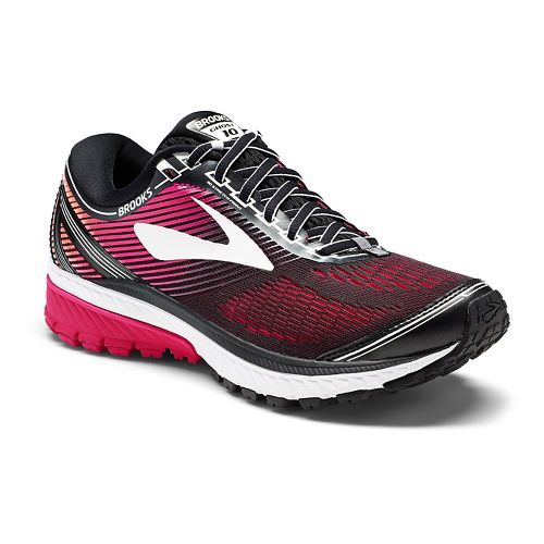 Womens Brooks Ghost 10 Running Shoe - Black/Pink 11.5