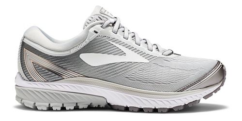 Womens Brooks Ghost 10 Running Shoe - White/Silver 9.5