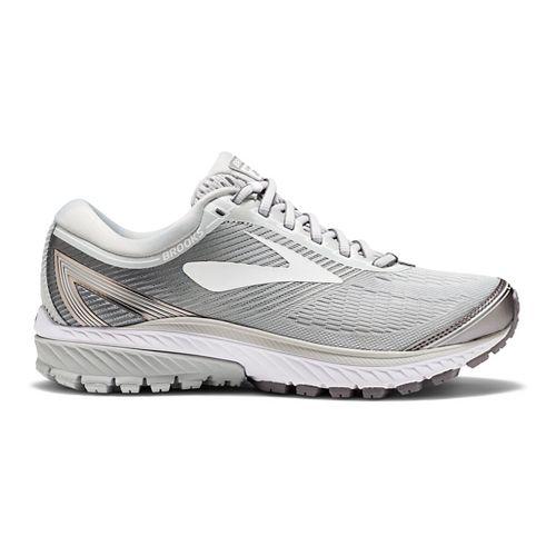 Womens Brooks Ghost 10 Running Shoe - White/Silver 7