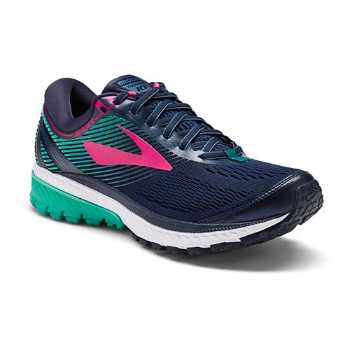 Womens Brooks Ghost 10 Running Shoe - Navy/Teal 11